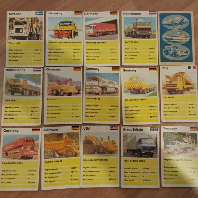 Vintage Top Trumps Vehicle Cards Trucks Extremely Rare 45 Cards Not Hot Wheels