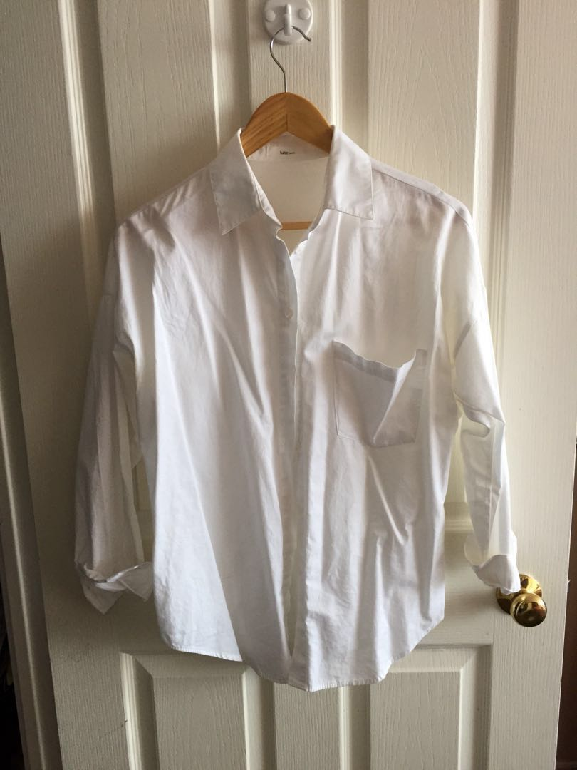Women's white blouse cotton dress shirt