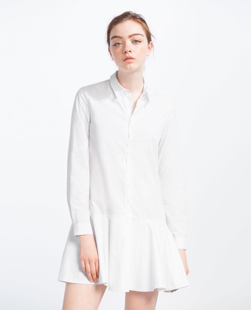 854d5ba5114 ZARA white dropwaist poplin peplum structured shirt dress