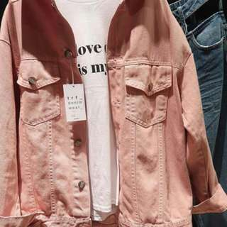 Oversize denim jacket pink zara