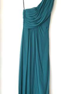 Dark green one shoulder dress, size 36
