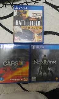 PS4 game (Project Car, Bloodborne, Battlefield Hardline)