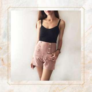 Pink Buttoned High-waist Shorts