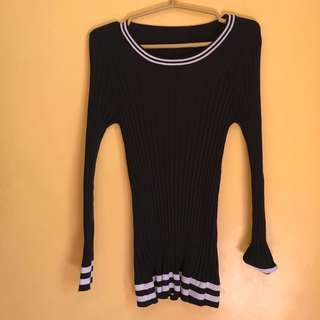 Black Ribbed Knitted Longsleeves