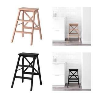[IKEA] BEKVÄM Stepladder, 3 steps, black/beech