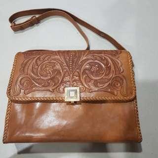 Genuine Tooled Leather Bag Vintage Style