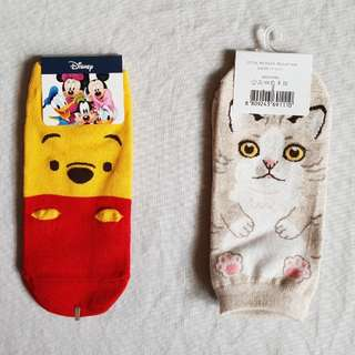 Pooh and Cat socks