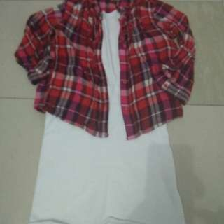 Set plaid and dress 3T