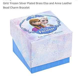 Disney  17 Girls' Frozen Silver Plated Brass Elsa and Anna Leather Bead Charm Bracelet