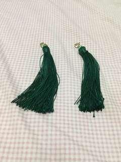 Green Tassel Earrings (Long)