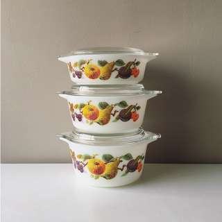 6pc Vintage Pyrex Kent's Orchard Lidded Round Casseroles in Rare Sizes