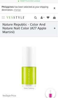 Nature Republic's Color and Nature Nail Polish #27 Apple Martini