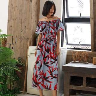 String Off Printed Maxi