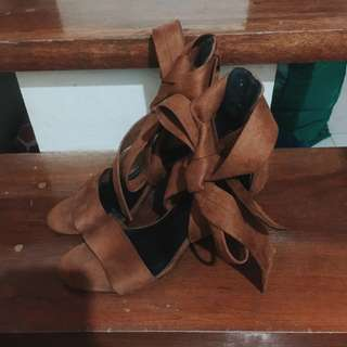 Suede Gladiator Brown heels