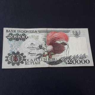 Indonesia 20,000 rupiah tahun 1992-Burung cenderawasih utk di jual