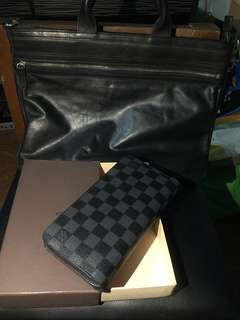 Louis Vuitton Graphite Long Zippy Wallet Replica with free Bag