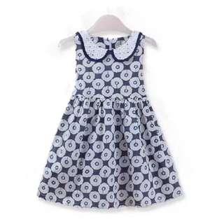 Printed flower blue Girl baby Dress