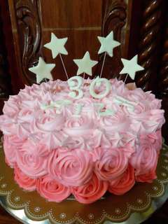 Simple pink ombre rosette cake