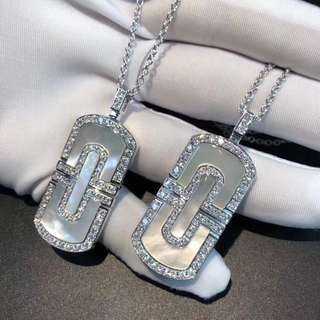 Bvlgari 鑽石白貝長吊牌項鏈