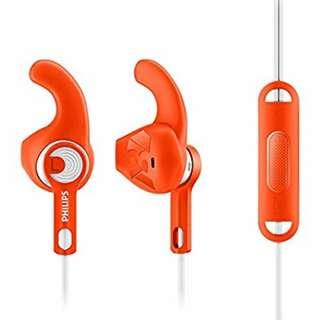 BNIB Philips Actionfit Jetkit Orange Sports Earphones with Mic and Remote