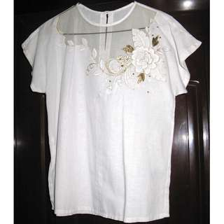 White Formal Blouse with Gold Trimmings
