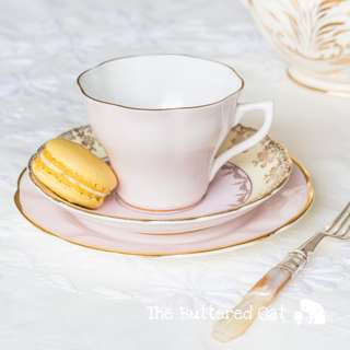 Lovely vintage mix and match English china tea trio, pale pink, yellow and gold