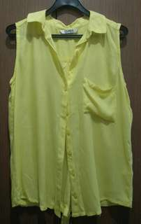 Pull & Bear Yellow Sleeveless Button Down Top