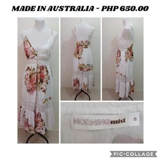 IMPORTED FLORAL PEACH DRESS