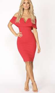 Off the shoulder bodycon red dress