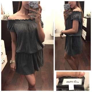 Gray Off Shoulder Dress (Tie Waist)