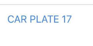 car number plate for sale '17'