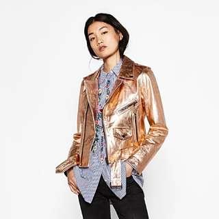 BNWT Zara metallic leather jacket