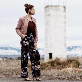 H&M Floral satin pants