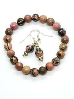 Rhodonite Bracelet and Earrings