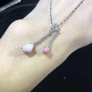 自己帶/女朋友老婆母親節禮物 🇯🇵💎超美的海螺珠鑽石項鍊 粉粉少女心❤️ 生日禮物