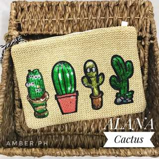 Cactus Woven straw clutch/sling bag