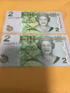 Fiji $2 ,2 running number
