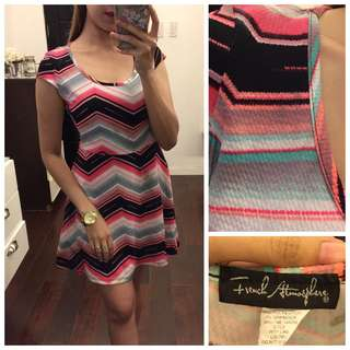 French Atmosphere Multicolored Pattern Skater Dress