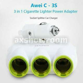 Awei C-35 Multi-Function Universal Car Charger 3 Socket Adapter with 2 USB Port Adaptor