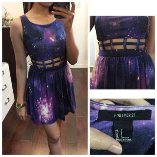 Forever 21 Galaxy Pattern Skater Dress