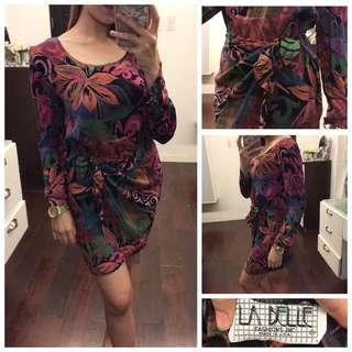 Vintage Tropical Pattern Bandeau Longsleeve Dress