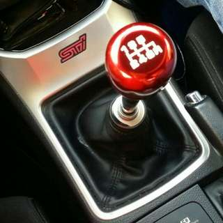 Red gear shift knob with 4 inch extension