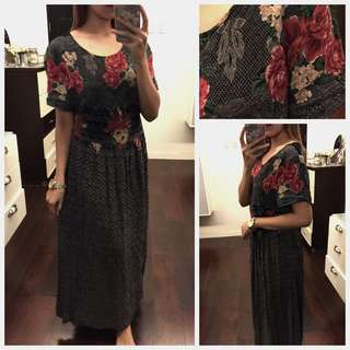 Floral Muted Maxi Dress (Tie Back)