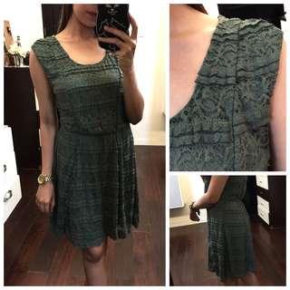 Army Green Lacey Garter waist Dress