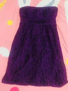 laced violet tube dress
