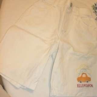 ELLE Poupon - White Shorts - Brand New - Size : Across waist 24cm, Length 36cm