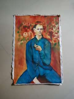 Old Painting - Boy with a Pipe