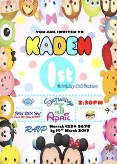 Tsum Tsum Birthday Invitation eCard