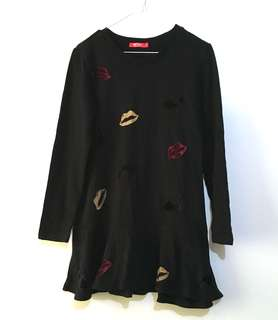Charity Sale! Authentic Hstyle Long Sleeve Black Modest Lips Print Dress Shirt Women's Top Size Medium