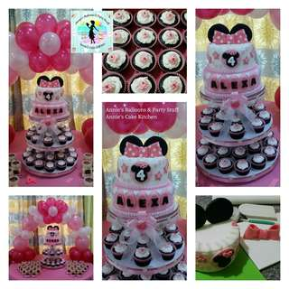 Minnie Mouse Cake, Cupcake, and Balloon Party Package